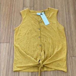 NWT Rachel Zoe tie front button down tank top